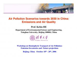 Air Pollution Scenarios towards 2030 in China: Emissions and Air Quality