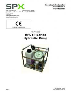 Air-Powered HPUTP Series Hydraulic Pump