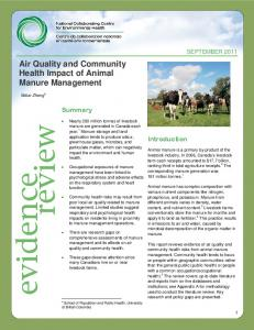 Air Quality and Community Health Impact of Animal Manure Management