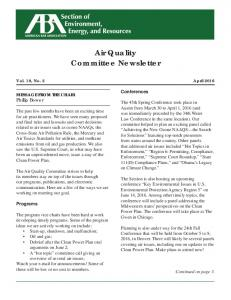 Air Quality Committee Newsletter