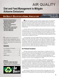 AIR QUALITY. Diet and Feed Management to Mitigate Airborne Emissions AIR QUALITY EDUCATION IN ANIMAL AGRICULTURE
