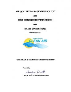 AIR QUALITY MANAGEMENT POLICY BEST MANAGEMENT PRACTICES DAIRY OPERATIONS