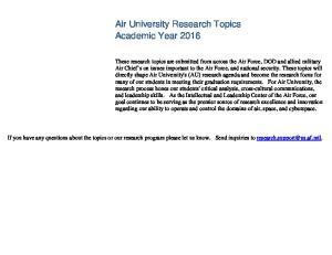 Air University Research Topics Academic Year 2016