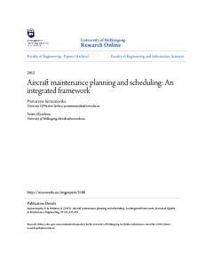 Aircraft maintenance planning and scheduling: An integrated framework