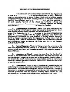 AIRCRAFT OPERATING LEASE AGREEMENT