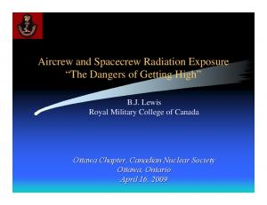 Aircrew and Spacecrew Radiation Exposure The Dangers of Getting High