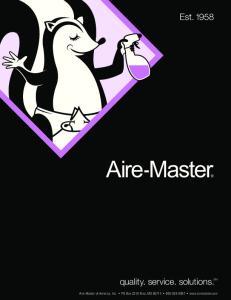 Aire-Master of America, Inc. PO Box 2310 Nixa, MO