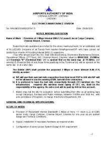 AIRPORTS AUTHORITY OF INDIA CHENNAI AIRPORT, CHENNAI CHENNAI