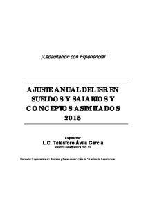 AJUSTE ANUAL DEL ISR EN SUELDOS Y SALARIOS Y CONCEPTOS ASIMILADOS 2015