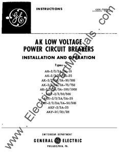 AK LOW VOLTAGE POWER CIRCUIT BREAKERS