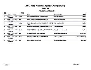 AKC 2015 National Agility Championship