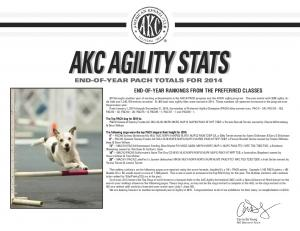 AKC AGILITY STATS END-OF-YEAR RANKINGS FROM THE PREFERRED CLASSES. Carrie De Young AKC DIRECTOR OF AGILITY