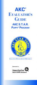 AKC. Evaluator s AKC S.T.A.R. Sponsored by