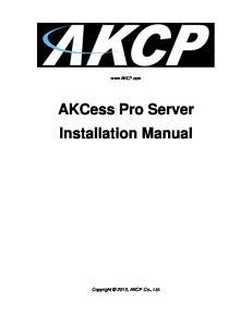 AKCess Pro Server Installation Manual