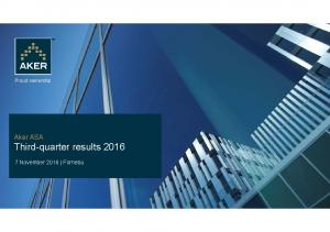 Aker ASA Third-quarter results 2016