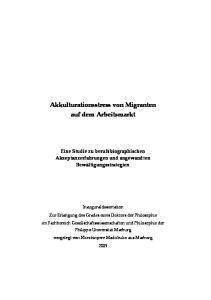 Akkulturationsstress von Migranten auf dem Arbeitsmarkt