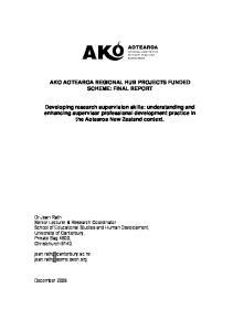 AKO AOTEAROA REGIONAL HUB PROJECTS FUNDED SCHEME: FINAL REPORT