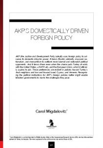 AKP S DOMESTICALLY-DRIVEN FOREIGN POLICY