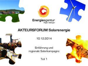 AKTEURSFORUM Solarenergie