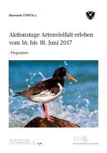 Aktionstage Artenvielfalt erleben vom 16. bis 18. Juni 2017