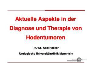 Aktuelle Aspekte in der Diagnose und Therapie von Hodentumoren