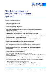 Aktuelle Informationen aus Steuern, Recht und Wirtschaft April 2013