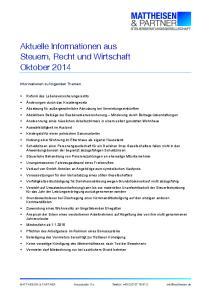 Aktuelle Informationen aus Steuern, Recht und Wirtschaft Oktober 2014