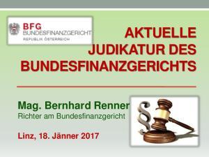 AKTUELLE JUDIKATUR DES BUNDESFINANZGERICHTS