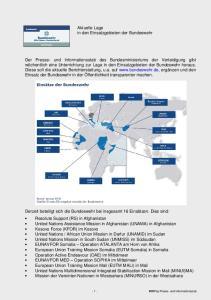 Aktuelle Lage in den Einsatzgebieten der Bundeswehr