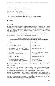 Aktuelle Probleme der Malariaprophylaxe