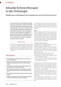 Aktuelle Schmerztherapie in der Onkologie