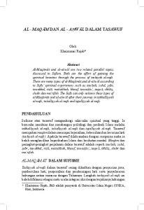 AL - MAQAM DAN AL - AHWAL DALAM TASAWUF