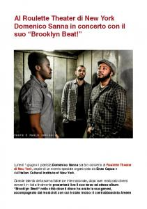 Al Roulette Theater di New York Domenico Sanna in concerto con il suo Brooklyn Beat!