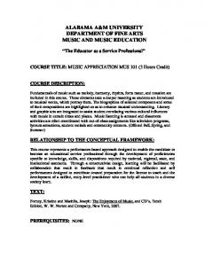 ALABAMA A&M UNIVERSITY DEPARTMENT OF FINE ARTS MUSIC AND MUSIC EDUCATION