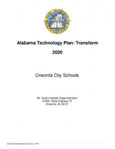Alabama Technology Plan: Transform. Oneonta City Schools