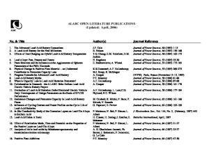 ALABC OPEN LITERATURE PUBLICATIONS (Updated: April, 2006)