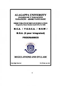 ALAGAPPA UNIVERSITY (Accredited with A Grade by NAAC) KARAIKUDI TAMILNADU
