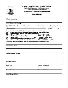 ALAMEDA COUNTY HEALTH CARE SERVICES AGENCY Public Health Department Administrative Services Finance-Contracts and Grant Claiming