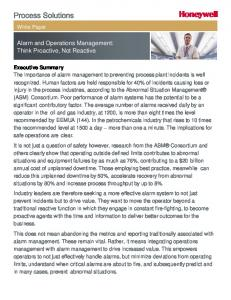 Alarm and Operations Management: Think Proactive, Not Reactive