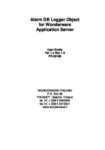 Alarm DB Logger Object for Wonderware Application Server User Guide Ver 1.x Rev 1.0 PR 00186