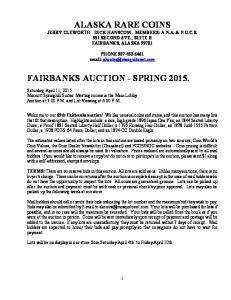 ALASKA RARE COINS FAIRBANKS AUCTION - SPRING 2015