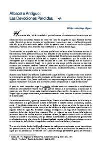 Albacete Antiguo: Las Devociones Perdidas
