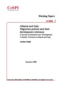 Albania and Italy Migration policies and their development relevance