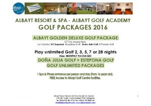 ALBAYT RESORT & SPA - ALBAYT GOLF ACADEMY GOLF PACKAGES 2016