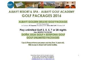 ALBAYT RESORT & SPA - ALBAYT GOLF ACADEMY GOLF PACKAGES 2016