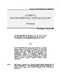 ALBERTA ENVIRONMENTAL APPEALS BOARD. Decision