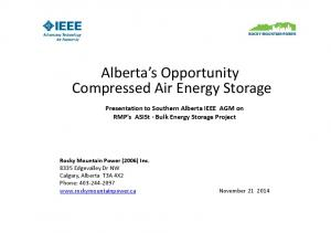 Alberta s Opportunity Compressed Air Energy Storage