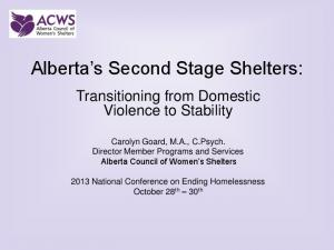 Alberta s Second Stage Shelters: