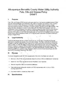 Albuquerque Bernalillo County Water Utility Authority Fats, Oils and Grease Policy DRAFT