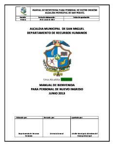 ALCALDIA MUNICIPAL DE SAN MIGUEL DEPARTAMENTO DE RECURSOS HUMANOS